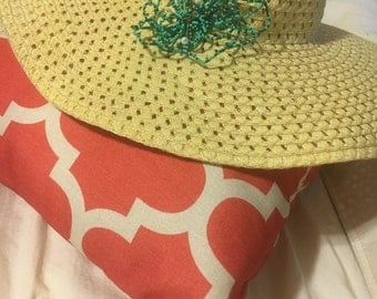 Sun Hat with Beaded Flower adornment