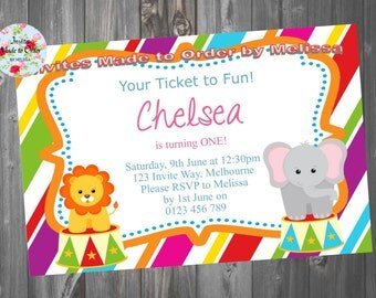 Circus Birthday Invitation Boy or Girl with Elephant and animals Lion