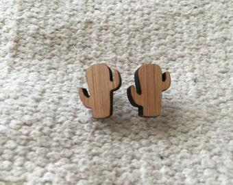 Wooden bamboo earrings cactus
