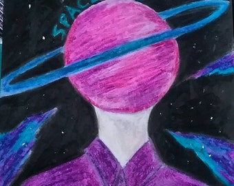 Space Boy Oil Pastel Drawing