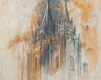 ON SALE! Salt Lake Utah LDS Mormon Temple Art.  Beautiful and Unique Canvas Print for your Home or as a Gift!
