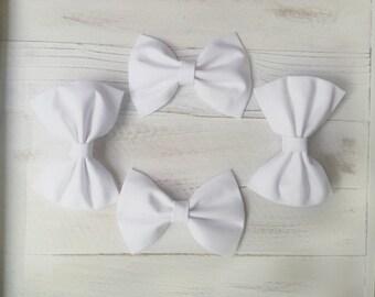 White fabric hair bow