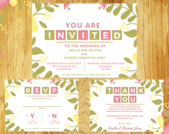 Custom Floral Wedding Invitations, RSVP and Thank You Printables