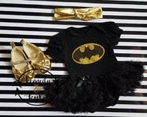 Baby Girl Costumes - Baby Girl Glitter Bat Tutu Dress Outfit with Gold Headband Halloween Tutu Costume 0-3 Months to 12-18 Months
