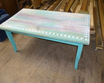Coffee Table Pine Stencil Decorated Upcycled