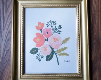 Floral Print in Gold Frame