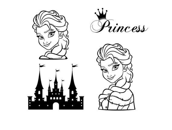 """Princess Decals 4""""-10"""" Elsa Princess Castle"""