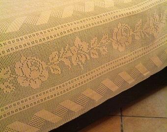 Cotton bedspread linen Ecru colour.