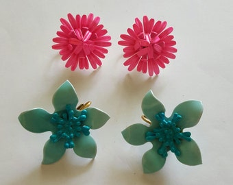 2 Pair Vintage Estate Enamel Flower Clip Earrings ~ Pink & Blue