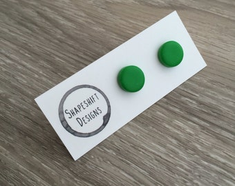 Handmade polymer clay stud earrings- green