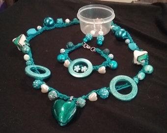 teal heart jewelry set