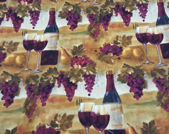 Wine Wineyard Print 100% Cotton  Fabric by the yard