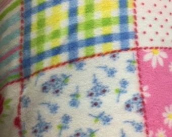 Patchwork Print Polar Fleece Fabric by the yard