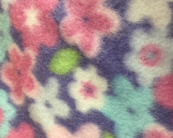 Multi Color Floral Print Pilat Fleece Fabric by the Yard