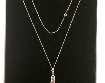Vintage white gold filigree pendant necklace and pin.
