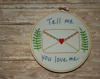 Love Letter Embroidery Hoop Art - Envelope - Thread Art -I love you, hand sewn, handmade wall decor, greenery, white, green, red, tan