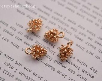 2 of 14K gf tiny pinecone woodland charm pendant BQ