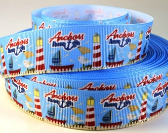 "1"" Nautical Ribbon - Anchors Aweigh - Lighthouse - Grosgrain Ribbon"