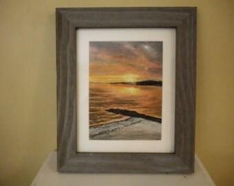 Coastal Sunset Pastel Painting