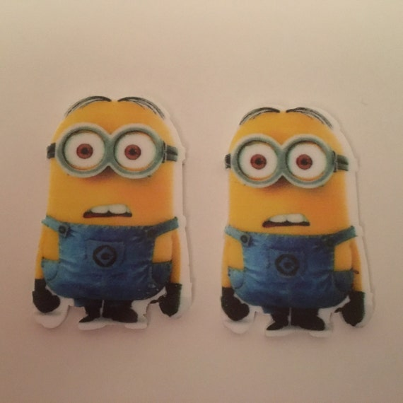 Reduced 4 Minions Gru Despicable Me Character Planar Resin. Flatback cabochon bow centre embellishments laser cut shrinky dink topper brooch