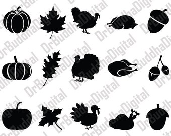 Sale! Thanksgiving SVG Collection - Autumn DXF - Fall Clipart - Pumpkin, Leaf, Turkey & Acorn - Files for Silhouette Cameo or Cricut