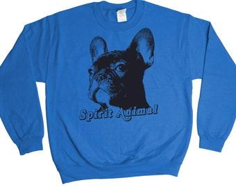 Frenchie Spirit Animal Sweatshirt - Funny Gift Idea - Mens Womens Oversized - Holiday Sweater Pullover Oversize Shirt Top French Bulldog