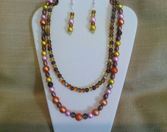 246 Summer Sunset Two-strand Beaded Necklace