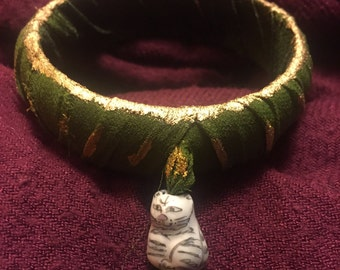 Vintage Sari Silk Wrapped Bangle with Cat Bead