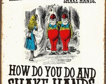 Alice In Wonderland Shake Hands Vintage Poster
