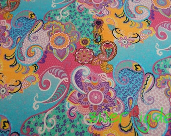 Thick cotton fabric with colorful Paisley Muster - cotton