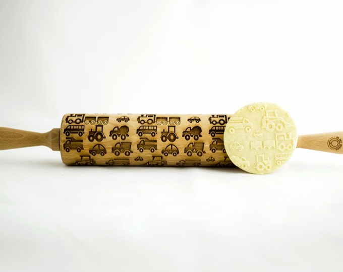 KIDS CARS rolling pin, embossing rolling pin, engraved rolling pin for a gift, kids, gift ideas, gifts, unique, autumn, wedding