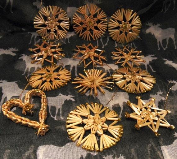 12 German Christmas OrnamentsHand Made Straw