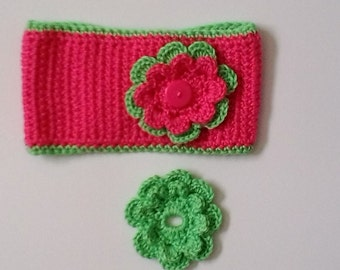 Pink and Green Ear Warmer