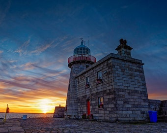 Howth Harbour Lighthouse at Sunset - Digital Download