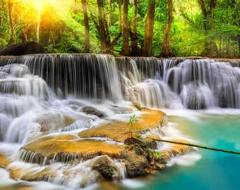 Photo Wallpaper Wall Mural for Dining Room, Living Room Decor, Bedroom Decor, Office - Mystical Erawan Waterfall Thailand Room Mural Large