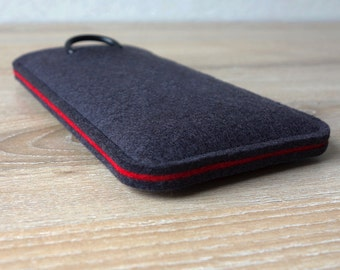 S7 ANTHRACITE/RED · Cell phone case for Samsung Galaxy S7 with pull tab sleeve case made of wool felt