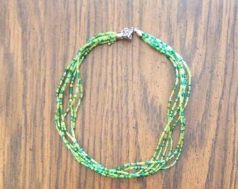 16 inch green beaded necklace