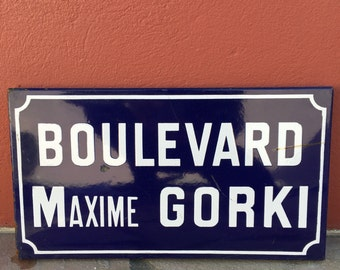 Old French Street Enameled Sign Plaque - vintage gorki