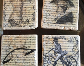 Vintage French Photo Transfer Coasters Set of 4
