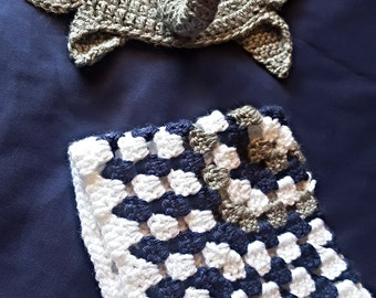 Newborn Elephant Hat with Mini Blanket