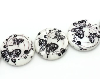 """5 mother of Pearl button """"Butterfly"""" - 25 mm - black/white / B1-0032"""