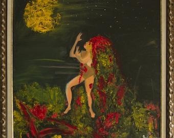 Moon dance self-portrait   70/70cm oil in canvas