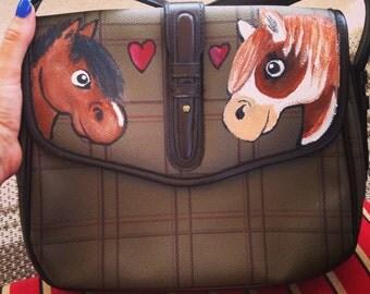 OOAK Hand Painted Horse Satchel Messenger Bag