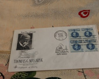 SALE:  1960 Thomas G. Masaryk First Day of Issue Stamp Washington D.C.