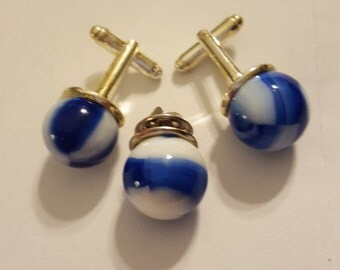Blue and White Marbles Cuff Links