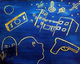 A Midnight Hope - Inspirational, Urban, Painting