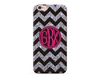 iPhone 6 case black chevron monogram, custom monogrammed case for iPhone 7 iPhone 6s plus iPhone 6s  iPhone SE 5S cover (NOT REAL Glitter)