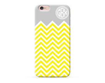 Personalized iPhone 8 Case, iPhone 8 Plus Case, iPhone X Case, iPhone 7 Case, iPhone 6 case, Monogram phone case, custom yellow chevron case