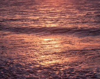 Coastal Waters II: WALL ART Fine Art Photography North Carolina Outer Banks Beach Purple Pink Soft Color Nautical Ocean Waves Golden Sunrise