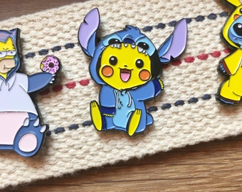 Pokemon Soft Enamel Pin / Disney Soft Enamel Pin - Pikachu and Stitch Mashup Enamel Hat Pin